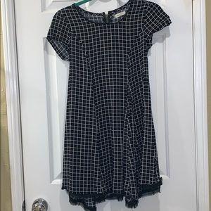 SILENCE + NOISE BLACK CHECKER DRESS